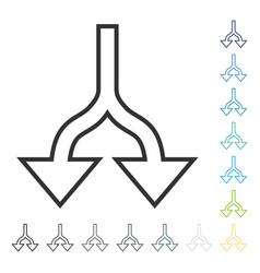 Split arrows down icon vector