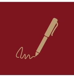 The signature icon pen and undersign underwrite vector