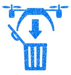 Trash drone grunge icon vector
