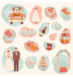 Wedding concept flat icons set vector