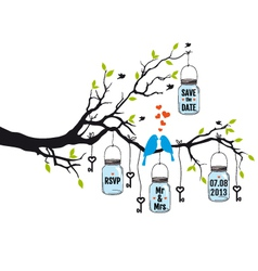wedding invitation birds on tree with jars vector image vector image