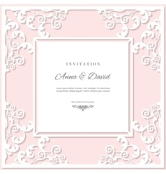 Wedding invitation card template with laser vector