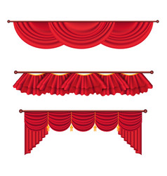 wide red drapes and lambrequins set vector image