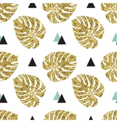 Tropical golden palm leaves seamless background vector image