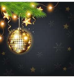 Golden shining christmas decoration and green fir vector