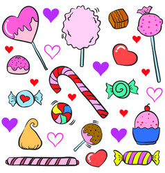 Doodle of colorful candy object design style vector