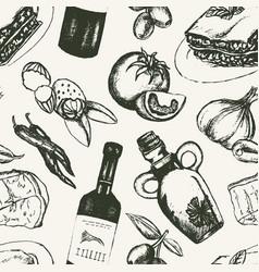 Italian food - black and white hand drawn seamless vector