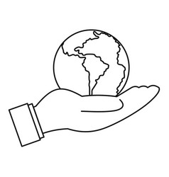 world planet in man hand icon outline style vector image