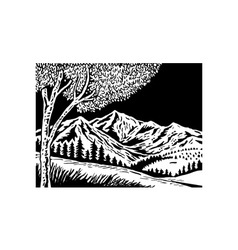 Mountain scene with tree in foreground vector