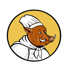 Wild pig boar hog chef cook baker vector