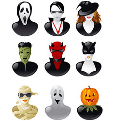 set of halloween avatars vector image