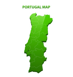 Highly detailed three dimensional map of portugal vector