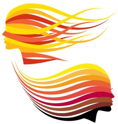 Woman head with hair colors vector