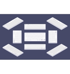 Isometric generic white computer keyboard with vector image