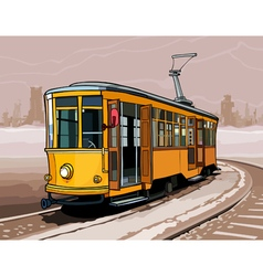 Yellow tram rides on rails by a winter city vector