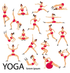 Yoga set women sketch asana girl healthy lifestyle vector