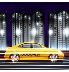 Taxi in city background vector