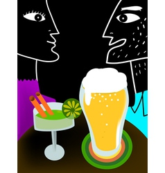 Couple drinking vector