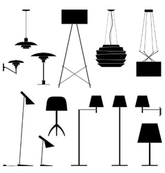 Set of different lamps black silhouette floor vector