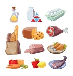 Common everyday food products cartoon vector