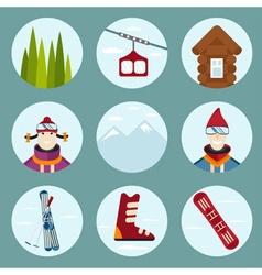 Flat design icons on ski and snowboard theme vector