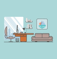 Flat minimalistic style creative office with vector