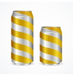 Aluminium cans with yellow stripes vector