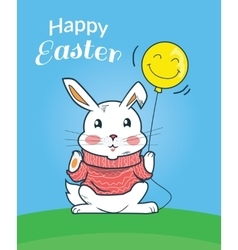 Happy easter bunny design flat vector