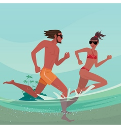 Couple running in shallow water vector