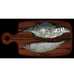Fish on a cutting board vector