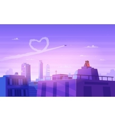 Boy and girl look over cityscape romantic day vector