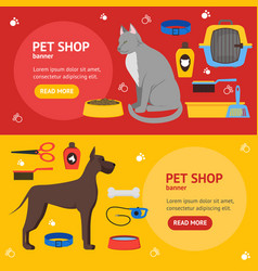 Cartoon domestic pet shop banner vector