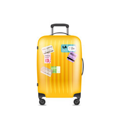 Color plastic travel bag object isolated on white vector