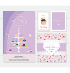 Cute templates with cupcakes stand and sweets vector