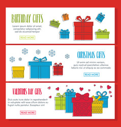 gifts doodle three horizontal banners vector image