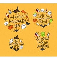 Halloween flat monograms mustard vector