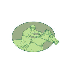 Horse jockey racing oval drawing vector