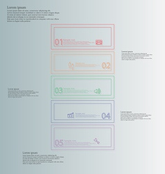 Infographic with bar divided to five color parts vector
