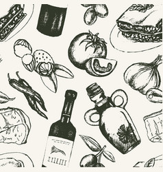 Italian food - black and white hand drawn seamless vector