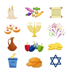 Jewish holiday hanukkah icons set vector
