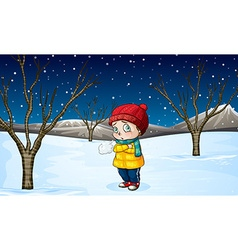 Little girl standing out in the snow vector