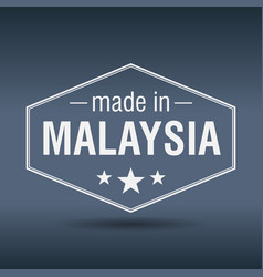 Made in malaysia hexagonal white vintage label vector