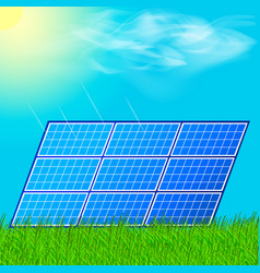 Modern solar station with blue panels standing in vector