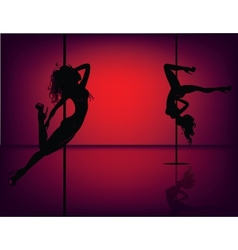 Pole dancers on red vector