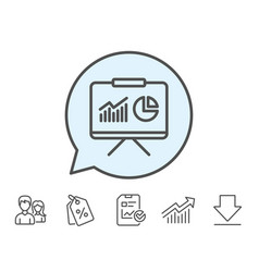 Presentation board line icon report chart sign vector