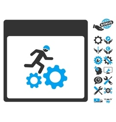 Running worker calendar page icon with vector