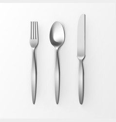 set of silver fork spoon knife table setting vector image vector image
