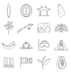 Sri lanka travel icons set outline style vector