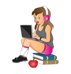 Teen girl using laptop and headphones sitting on vector