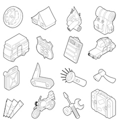 Travel icons set isometric outline style vector